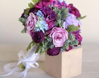 Silk Bridal Bouquet Purple Roses Succulents Rustic Chic Wedding (1010)
