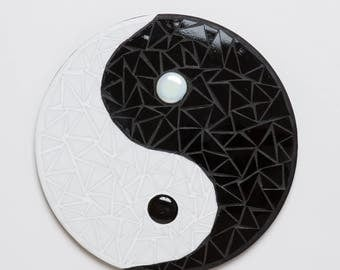 Ying Yang Round Black and White Mosaic Plaque Two Sizes