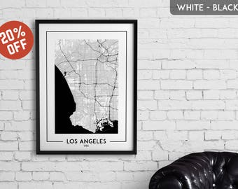 LOS ANGELES map print, Los Angeles poster, Los Angeles wall art, Los Angeles city map, Los Angeles map decor, Los Angeles decoration,LA gift