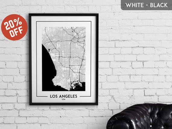 Los Angeles Map Print Poster Wall: Los Angeles Map Print At Infoasik.co