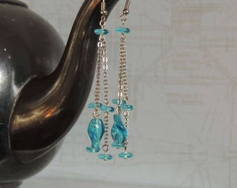 Long earrings with blue glass beads