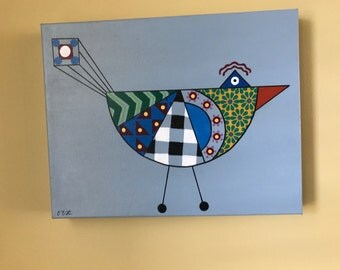 Geometric Bird Acrylic Painting