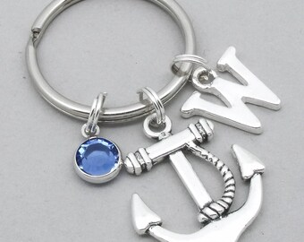 Anchor mongoram keyring | anchor keychain | personalised anchor keyring | anchor accessory | anchor gift | initial letter | birthstone