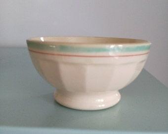 Adorable little vintage earthenware bowl border blue and red. Vintage french bowl