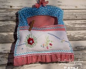 Clothespin Bag - Vintage embroidered linen - Red, White and Blue - Farmhouse Charm - Tattered Ruffle