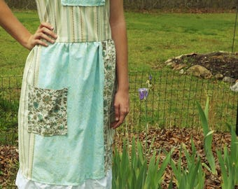 Aqua lagen look french country prairie dress with pantaloons