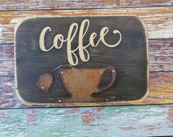 Rustic Wood Block, Rusty Metal Coffee Cup, Shabby Chic, Distressed Wood, Brown, Vintage Home Decor, Wall Hanging, Reclaimed Wood