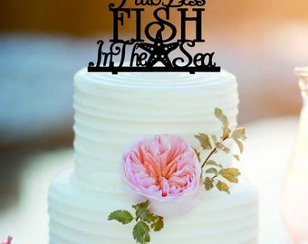 Two less fish in the sea cake topper /Customized Mr And Mrs Wedding Cake Topper /Personlized Bride And Groom Cake Topper/Sea Wedding