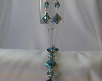 Light Blue Swarovski Crystal Bracelet and Earrings Set