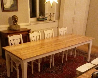 One of a kind. Dining table from solid pine and Siberian larch