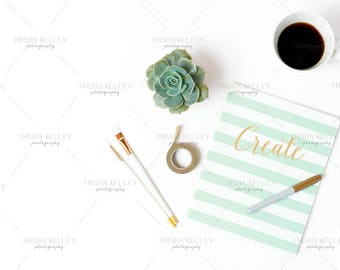 SET OF TWO: Create Notebook with Succulent and Coffee