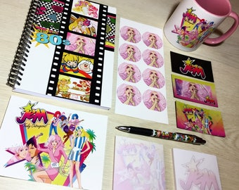 Jem and the Holograms Deluxe Stationery Set with Mug (Postcard, Post-Its, 80s Notebook, Stickers, Magnets, Pen, Mug),