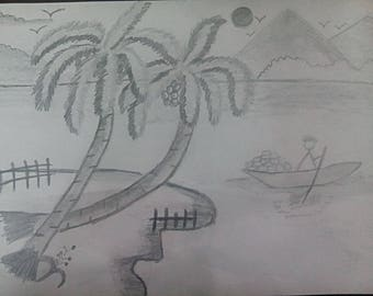 Graphite Pencil Drawing of BEAUTY OF NATURE