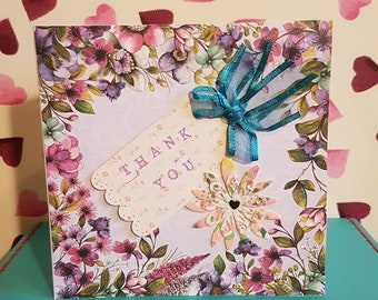 Handmade Thank You Card 6x6 inches