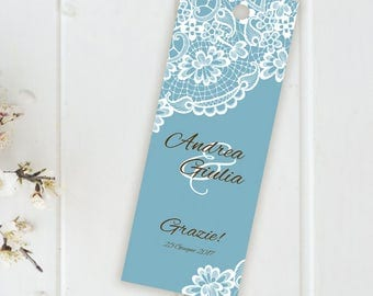 Placeholder wedding. Bookmark thank you wedding. Placeholder faux blue lace with Ribbon or without. Customizable.