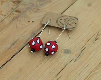 Red and White Polka Dot Earrings