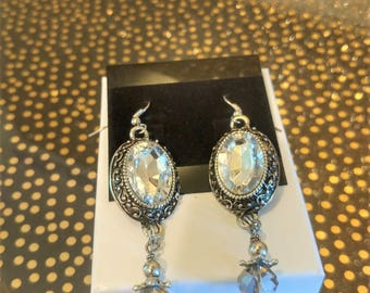 Oval Earrings, Silver finished, Crystal Beads