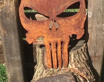 Precision Plasma Cut Punisher Rusted Skull Wall Art with a Clear Coat Finish