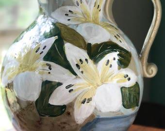 Large Hand-Painted Bellini Piu Ceramic Pitcher