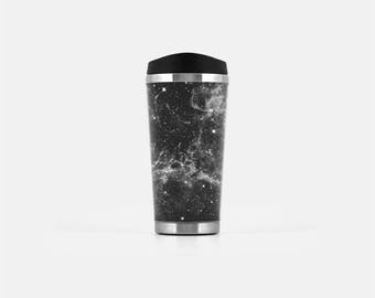 Galaxy Travel Mug, Black Travel Tumbler, Space Coffee Mug, Gifts for Co Workers, Stainless Steel Cup, To Go Coffee Cup, 16 oz