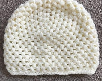 Handknitted Hat, Cream