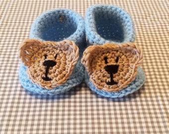 Teddy Bear Booties | Crochet Baby Boots | Handmade