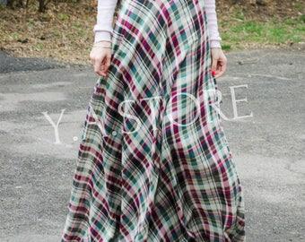 Plaid Summer Maxi skirt Woman Green and Marsala Tartan Long skirt