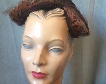 1940s Brown Hat with Feathers and Veil