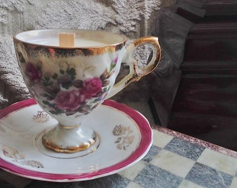 Exclusive Vintage Soy Tea Cup Candle Balanced with Soothing Lavender & Sweet Orange Essential Oils