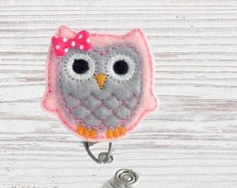 Nurse Badge Reel | Owl Felt Badge Reel | Badge Reel | Felt Applique | Retractable ID Badge Holder | Nurse Badge | CNA Badge