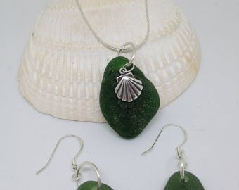 Sterling silver and sea glass pendant and earring set