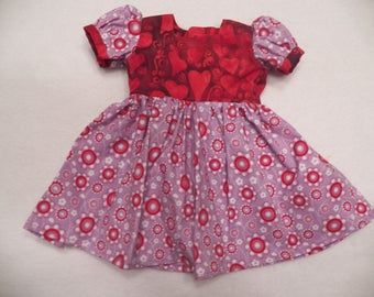"""Purple and Red 18"""" Doll Dress, Fits American Girl Dolls, Fits Madame Alexander Dolls, Fits Our Generation Dolls, Velcro Closure in back"""