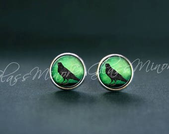 Raven Earrings, Raven Post Studs, Steampunk Antique Wanderlust, Woodland Jewelry, Bird Earrings, Black Raven Crow Green, Gift for Her