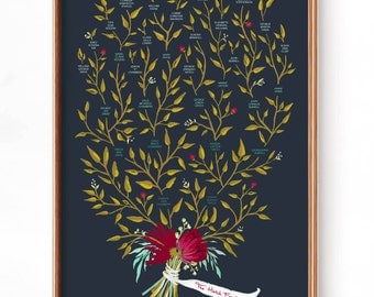 Custom Family Tree- Navy, 3, 4 or 5 Generations, Gouache Fine Art Print