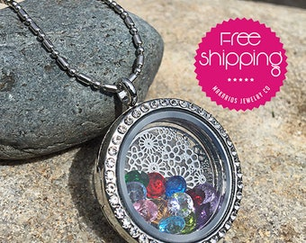 locket.mothers day family tree.mothers day birthstone.locket necklace.photo locket.antique locket.vintage locket (Flower Locket Necklace)