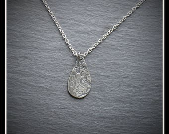 Engraved Teardrop Pendant - Silver Precious Metal Clay (PMC), Handmade, Necklace - (Product Code: ACM032-17)