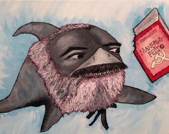 "Karl Sharx, ""The Communist Man-eating Festo"""