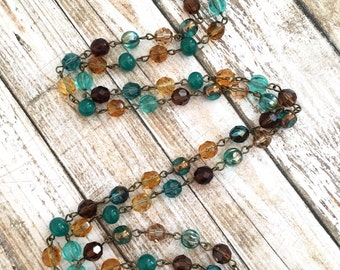 SALE  Long necklace with Swarovski beads, chez beads, and other elegant beads