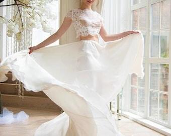 Wedding crop top, lace crop top, crop top wedding dress, crop top, two piece wedding dress, beach wedding dress, lace wedding dress, wedding