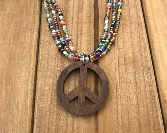 Beaded Necklace with wood Peace Sign