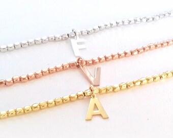 Initial bracelet, initial bead bracelet, letter bracelet, personalized letter bracelet, personalized initial bracelet, silver bracelet