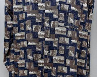 "90's Vintage ""COLUMBIA"" Long-Sleeve Pattern Shirt Sz: MEDIUM (Men's Exclusive)"