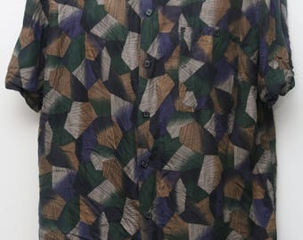 "Rare 90's Vintage ""MARC EDWARDS"" 100% Silk Short-Sleeve Abstract Patterned Shirt Sz: LARGE (Men's Exclusive)"