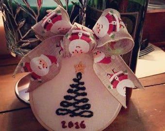 Embroidered Christmas Ornament / Custom Handmade Hanging Ornament / Christmas Tree with Year / Christmas Present / Stocking Stuffer