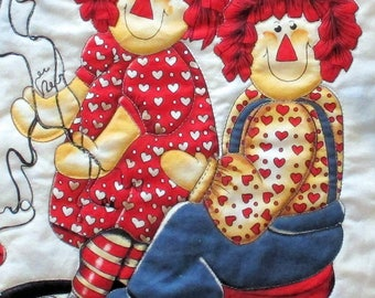 Raggedy Ann and Andy Baby Quilt Doll Quilt or Wall Hanging Handmade Quilt Choose One or Both