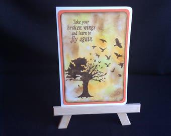Broken Wings Card, Get Well Card, Sympathy Card, Blank Card, Handmade Card, Greetings Card