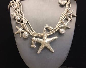 Sea-Star Layered Silver Necklace