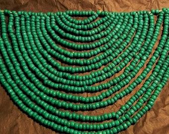 1970s Hand-Beaded Bib necklace Kuna Indian, San Blas Islands, Panama