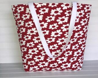 Handmade Everyday Tote | Market Bag |  White Daisy Tote