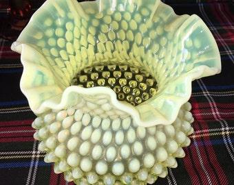 Fenton Vaseline Glass Vase